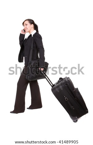 young businesswoman with suitcase. over white background - stock photo