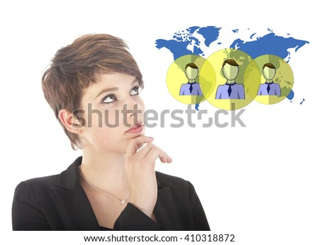 Young businesswoman with virtual worldwide friends isolated on white background - stock photo