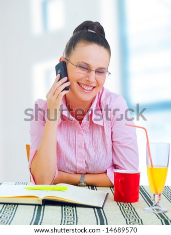 young businesswoman working on coffee break, outdoors