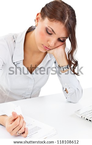 Young businesswoman working with documents - stock photo