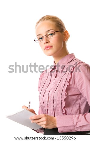 Young businesswoman writing on notepad, isolated on white - stock photo