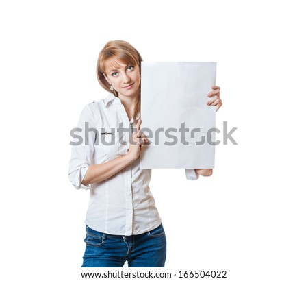 young businesswomen holding blank banner in her hands. Isolated on white