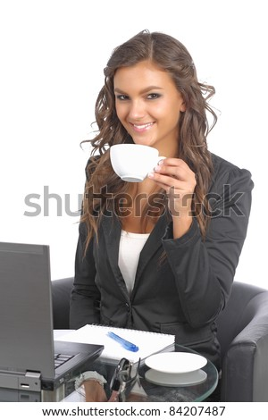 Young businesswomen in front of her notebook - stock photo