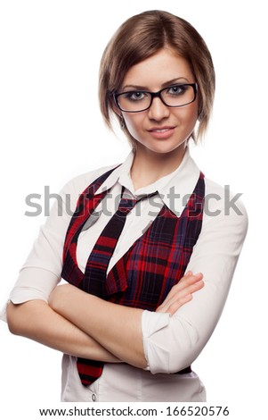 young bussineswoman on a white background - stock photo