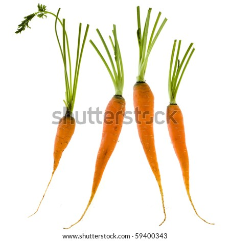 young carrots  isolated over white - stock photo