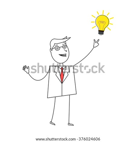 Young cartoon businessman pointing at light bulb - stock photo