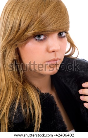 young casual blonde woman close up portrait