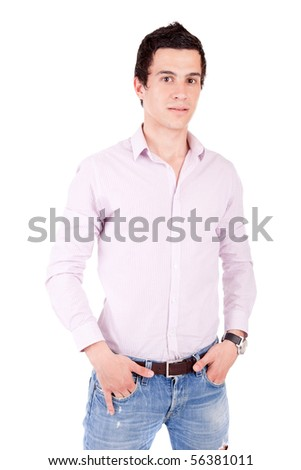 Young casual boy posing isolated