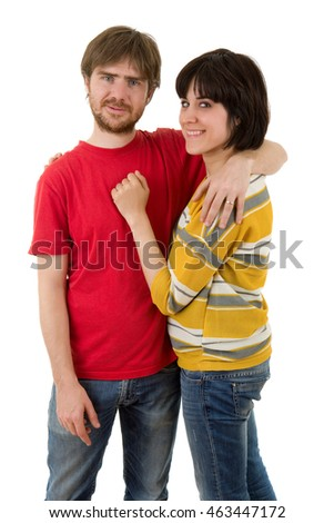 young casual couple together, isolated on white background