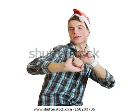 young casual dancing  man in a santa hat isolated on white - stock photo