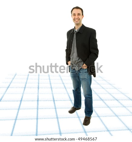 young casual happy man full length picture - stock photo