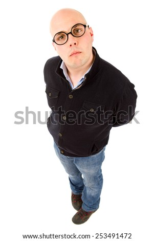young casual man full body in a white background - stock photo