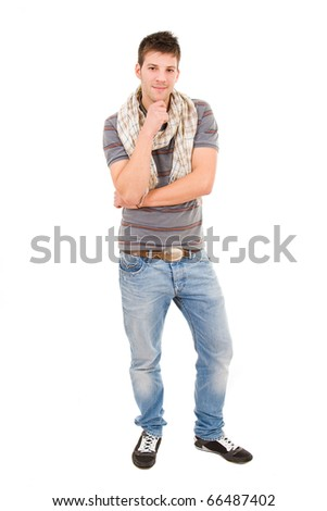 young casual man full body, isolated on white - stock photo