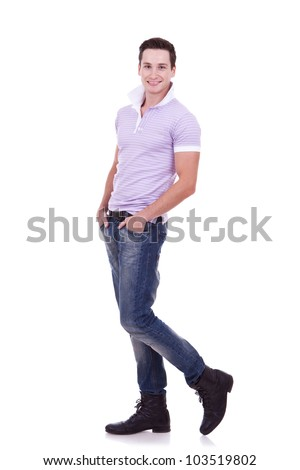 young casual man , full body picture, posing on a white background - stock photo