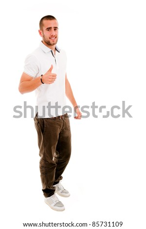 young casual man full body thumbs up in a white background - stock photo