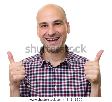 young casual man going thumb up isolated on a white background