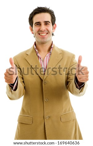 young casual man going thumbs up, isolated on white - stock photo