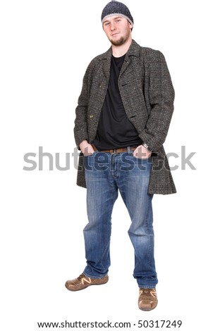 young casual man over white background