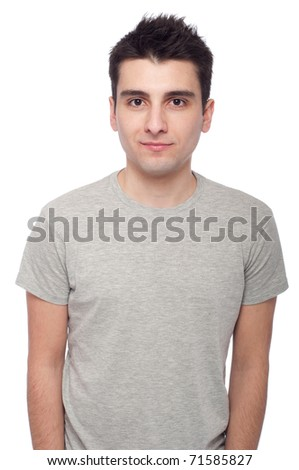 young casual man portrait isolated on white background - stock photo