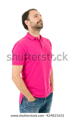 young casual man thinking, isolated on white background - stock photo