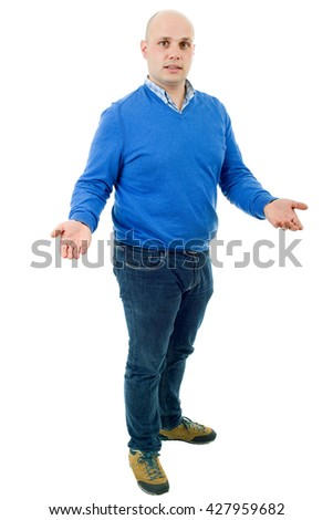 young casual man waiting full body in a white background - stock photo
