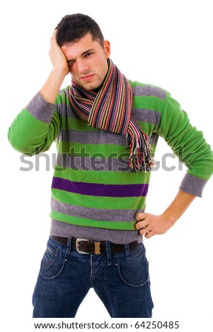 young casual man with a headache, isolated on white - stock photo