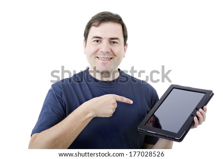 young casual man working with a tablet, isolated