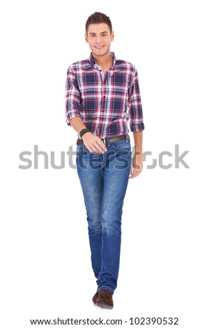 young casual manwelcoming you on white background - stock photo