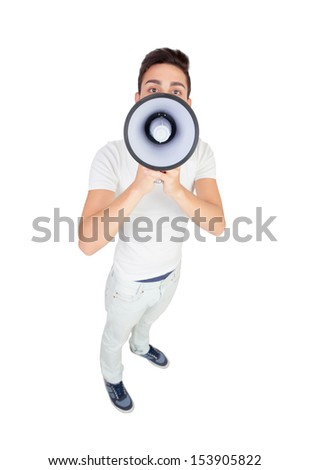 Young casual men with a megaphone isolated on a white background