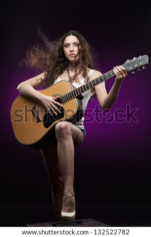 Attractive Sexy Musician Playing Cello Naked Stock Photo
