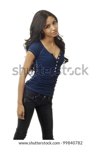 Young casual woman isolated against white background. - stock photo