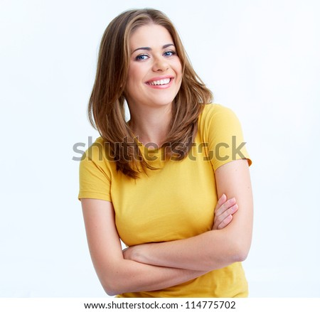 Young casual woman portrait isolated on white background. Happy girl close up face - stock photo