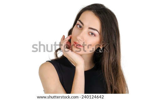 Young casual woman portrait isolated on white background. Happy girl close up face