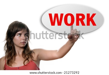 young casual woman presses work key, on white