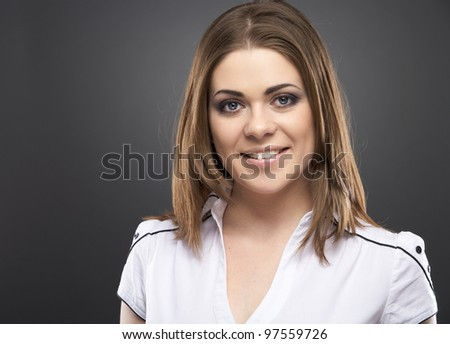 Young casual woman style isolated over gray background. studio portrait,