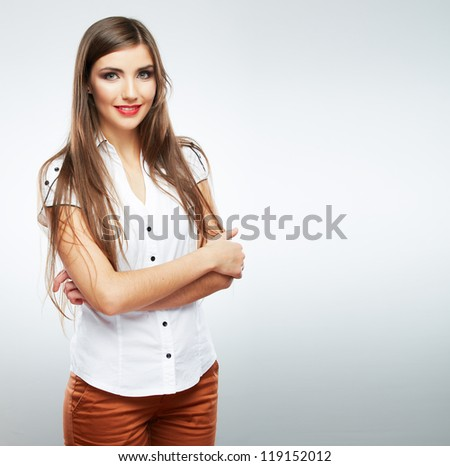Young casual woman style isolated over white background. studio portrait female model. Beautiful smiling happy girl with long hair - stock photo