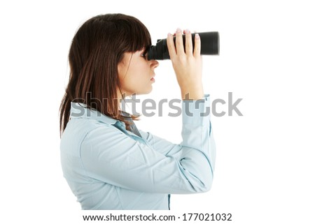 Young caucasian business woman looking through binocular isolated on white background