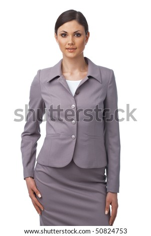 Young Caucasian business woman on white background - stock photo