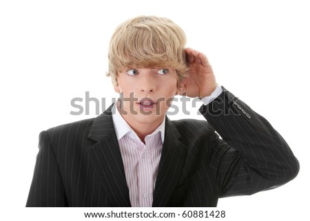 Young caucasian businessman listening gossip, isolated on white