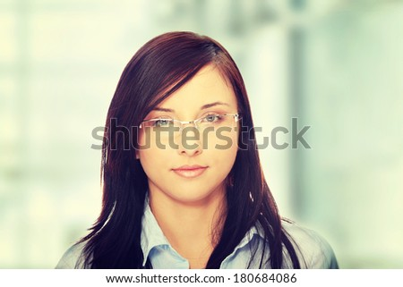 Young caucasian businesswoman in office