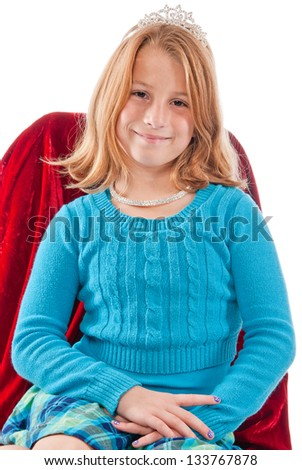 Young caucasian female child princess