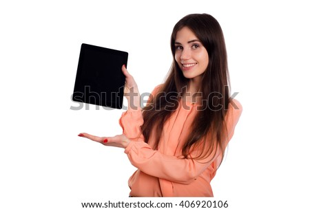 young caucasian female with tablet isolated on white - stock photo