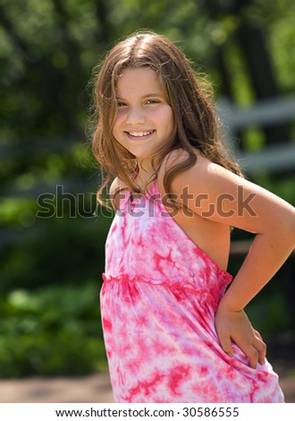 Young caucasian girl smiling - stock photo