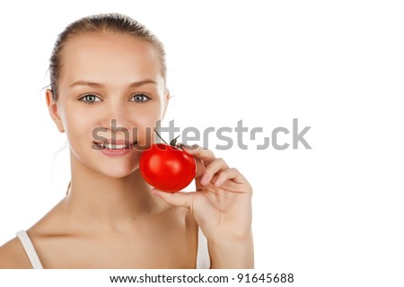 young caucasian girl with tomato, attractive girl with ripe tomato, isolated on white,portrait of girl hold in hand ripe tomato,isolated - stock photo