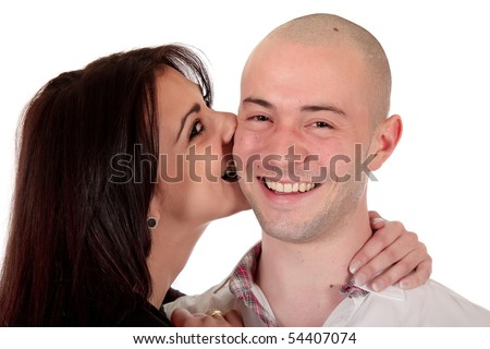 young Caucasian  heterosexual loving couple embracing each other,  Studio, white background