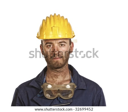 young caucasian labourer portrait isolated on white
