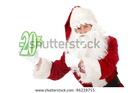 Young caucasian man in Santa Claus clothes showing twenty percent discount sign and thumb up. Studio shot. White background. - stock photo