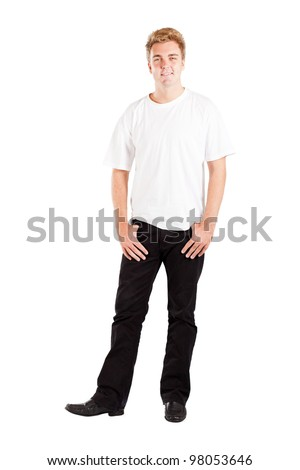 young caucasian man isolated on white background - stock photo