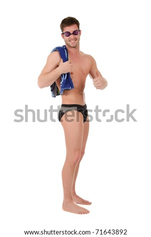 Young caucasian man swimmer with goggles and towel on shoulder. Smiling guy with thumb up. Studio shot. White background - stock photo
