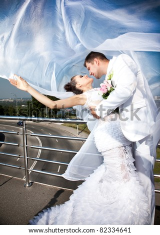 Young caucasian newly married couple covered with long white veil - stock photo